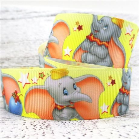 1 METRE DUMBO ELEPHANT RIBBON SIZE 1 INCH BOWS HEADBANDS HAIR CLIPS CARD MAKING